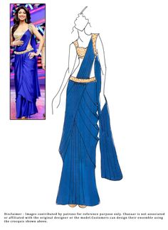 Shilpa Shetty Blue Ready Stitched Saree