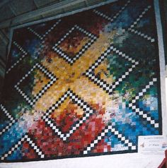 postage stamp quilt with over 1000 pieces! Very modern looking! Postage Stamp Quilt, Postage Stamps, Rainbow Quilt, Crochet Needles, Strip Quilts, Traditional Quilts, Color Studies, Square Quilt, Needlepoint