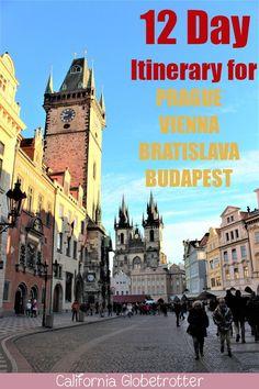 12 Day Itinerary for Budapest, Bratislava, Vienna & Prague – Best Europe Destinations Europe Destinations, Europe Travel Guide, Bratislava, Istanbul Travel Guide, Prague Travel, Prague City, Voyage Europe, By Train, Nouvel An