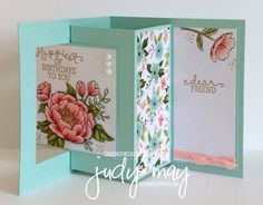 Stampin' Up! Birthday Blooms & Birthday Bouquet DSP Lever card - Judy May , Just Judy Designs, Classes in Catnerbury Melbourne