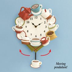 Amazon.com: Collections Etc Coffee Cup Pendulum Wall Clock Kitchen Decor: Home & Kitchen