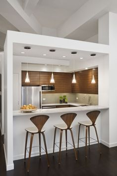 Designing Small Kitchens With Contemporary Interior Kitchen Design With Modern White Kitchen Bar Table And Stylish Bar Table Design Feat Modern Kitchen Appliances Design For Designing Of Small Kitchens With Photos ~ Popular Home Interior Decoration Kitchen Bar Design, Kitchen Layout, Interior Design Kitchen, New Kitchen, Kitchen Designs, Kitchen Small, Kitchen Decor, Kitchen Bars, Bar Designs