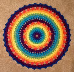 Rainbow #crochet mandala free pattern by Oona Linnett