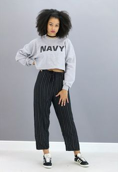 VINTAGE REWORKED US NAVY CROPPED SWEATER Z1247