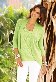 Spring's New Jacket: The Cardigan #chicos -- matching shell-- color is Applemint, a refreshing color of green.  Have it and love it!