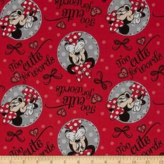 Disney Minnie Too Cute For Words Red 100% Cotton Print Fabric by the yard