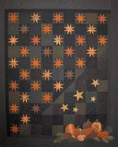 Midnight at the Pumpkin Patch Kit seen on Quilter's Station website. Love the combo of quilting and wool applique. Reminds me of The Woolen Needle's Antique Star Blooms. note from birdybeaks-good night sky and put other things in corner-very versitile Halloween Quilts, Halloween Quilt Patterns, Wool Applique, Applique Quilts, Patch Quilt, Quilt Blocks, Star Quilts, Mini Quilts, Quilting Projects