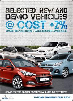 Hyundai New and Demo vehicles at only Cost New Hyundai, Driving Test, Vehicles, Car, Vehicle, Tools