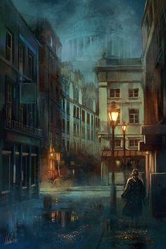 Spirits in a Night in London, Luca Merli on ArtStation at https://www.artstation.com/artwork/ZdrWR