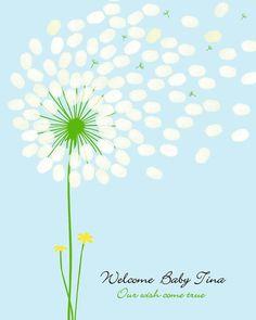 Fingerprint Guest Book Alternative Baby Shower by CustombyBernolli