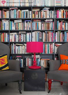 chairs in front of books