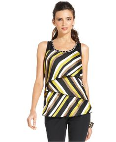 Alfani Top, Sleeveless Tiered Striped Tank - Womens Tops - Macy's $59.00