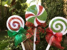 Items similar to Christmas Lollipops for yard decorations on Etsy Thanksgiving Decorations Outdoor, Grinch Christmas Decorations, Christmas Crafts, Etsy Christmas, Holiday Decor, Office Christmas, Christmas Porch, Christmas Candle, Christmas Gingerbread