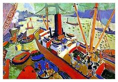 Derain - The Pool of London.  Uses strong warm colours in foreground and weaker cooler colours in background to create a sense of depth.