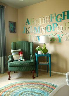 Alphabet wall Kids bedroom decor remodelaholic.com