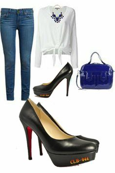 Skinny Jeans about Christian Louboutin Kidskin Platform Red Sole Black Pump  #Christian #Louboutin