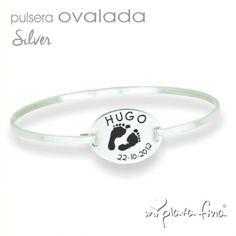 955c9386f578 Pulsera brazalete OVALADA Silver en plata de ley con grabado personalizado  de huellas de pie