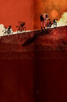 Lovely cycling illustrations from Yang Tae inspired by the Rapha team