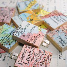 Map Scrabble Tile Pendant.  Vintage.  You Select the Journey.. $12.00, via Etsy.