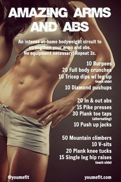 An intense at-home bodyweight circuit to strengthen arms and abs. No equipment necessary! #fitness #workout #bodybuilding