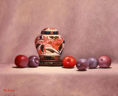 https://flic.kr/p/Gj33G6 | Imari Ginger Jar with plums by Vicki Sullivan#oilonbelgianlinen#stilllife#organicgarden#representationalpainting#Australianartist#portraitartistsaustralia#fruit#freshandnatural#slowfood#rosemarybrushes#rosemary&co#melbourneartist#mornigtonpeninsulaartist#