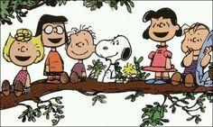 Peanuts gang on a limb.