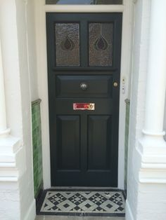Our restored front door in Studio Green, farrow and ball