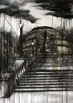 Water droplets have been applied to the charcoal sky, thus creating a drippy effect and placing emphasis on the appearance of rain. Water Droplets, Charcoal Drawing, Dry Brushing, City Art, Architecture Design, Sky, Drawings, Perspective, Artwork