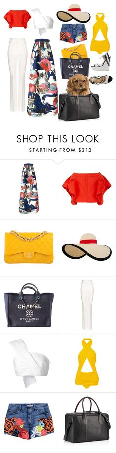 """Weekend in East Hamptons"" by poshandedge ❤ liked on Polyvore featuring Mary Katrantzou, Chanel, Eugenia Kim, Dolce&Gabbana, Delpozo, Norma Kamali, Christopher Kane, Christian Louboutin and Grey Mer"