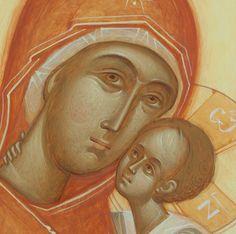 Theotokos detail by Gabriel Toma Chituc Religious Icons, Religious Art, Byzantine Art, Art Icon, Orthodox Icons, Sacred Art, Virgin Mary, Fresco, Gabriel