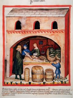 Tacuinum Sanitatis, Medieval Health Handbook, dated before 1400, based on observations of medical order detailing the most important aspects of food, beverages and clothing, Saltwater fishing, Miniature, Fol, 82 v (Photo by Prisma/UIG/Getty Images)