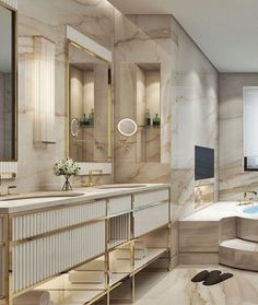 100 Must-See Luxury Bathroom Ideas | Luxury Bathroom Ideas that will open up your horizons as to how innovative bathrooms can get as far as using bathtubs is concerned. Get inspired by a range of bathroom styles that goes from hyper-luxury to the contemporary style. | www.bocadolobo.com #bocadolobo #luxuryfurniture #exclusivedesign #interiodesign #designideas #homedecor #homedesign #decor #bath #bathroom #bathtub #luxury #luxurious #luxurylifestyle #luxury #luxurydesign #tile #cabinet