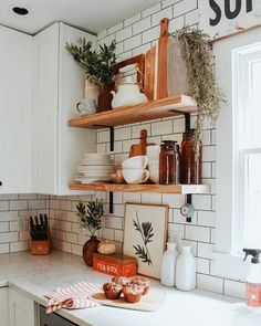Kitchen decor and kitchen ideas for all of your dream kitchen needs. Modern kitchen inspiration at its finest. Home Decor Kitchen, Home Kitchens, Kitchen Dining, Diy Home Decor, Kitchen Ideas, Kitchen Cabinets, Design Kitchen, Diy Kitchen, Kitchen Utensils