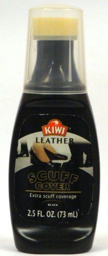 Kiwi Scuff Cover, Black, 2.5 Oz (Pack of 4) by Kiwi. $12.89. Pack of four 2.5-fluid ounce bottles. Water resistant.. Quickly and neatly covers scuffs, shines shoes, leaves leather looking like new. Built-in sponge applicator for added convenience and ease. Kiwi Scuff Cover Black Is heavily pigmented liquid is ideal for covering deep scuffs. Quickly and neatly covers scuffs, shines shoes, leaves leather looking like new - clean, shiny, evenly coated and colored. Self sh...
