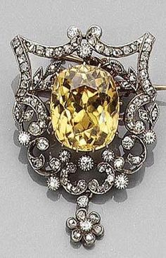 A Belle époque Yellow Zircon And Diamond Brooch Circa 1900 Royal Jewelry Gems