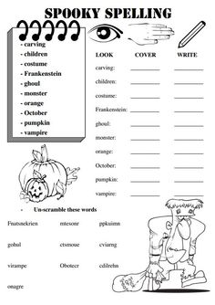 These worksheets are for a set of weekly spelling words with a Halloween theme.