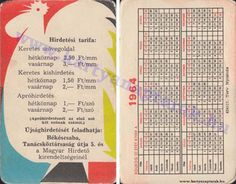 1964 - 1964_0156 - Régi magyar kártyanaptárak Pocket Calendar, Keto, Bullet Journal, Cards, Pockets, Pocket Diary, Maps, Playing Cards