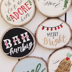 Diy Wood Slice Christmas Ornaments Diymeg Happy New Year Christmas Wood, Christmas Signs, Diy Christmas Ornaments, Diy Christmas Gifts, Christmas Projects, All Things Christmas, Holiday Crafts, Christmas Holidays, Christmas Decorations