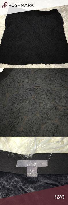 Forever 21 Black 3D flower mini skirt medium Forever 21 black 3D Flower mini skirt medium. Forever 21 Skirts Mini