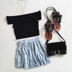 """[ Off to school  ]  Sorry for all the off the shoulder pieces recently  