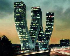 W Tower Prague Czech Republic .This building is located in Prague, Czech Republic. Designed by Danish architects Bjarke Ingels Group's, the Walter Towers look stunning. but would you live in an upside down McDonald's logo building? Dynamic Architecture, Futuristic Architecture, Beautiful Architecture, Contemporary Architecture, Architecture Design, Prague Architecture, Contemporary Building, Creative Architecture, Contemporary Cottage