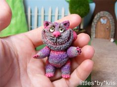 Ooak miniature jointed polymer clay Alice in wonderland Cheshire Cat. Hand sculpted and hand painted.