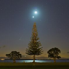 Venus, moon, Jupiter and comet.  Comet PanStarrs is in the lower left of this photo, taken by Amit Ashok Kamble on July 19, 2015, New Zealand.  Note that the comet has two tails.