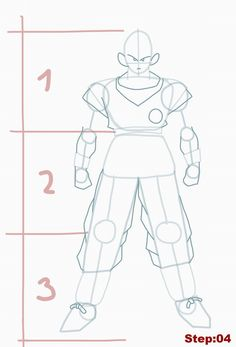 How to draw Goku from Dragon Ball Z step 04