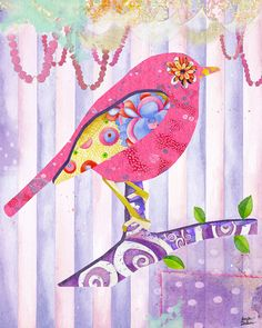 8x10 Art Print. Pink Pearls And Florals Bird by TheOpulentNest, $18.00