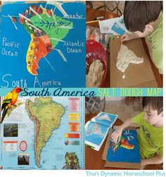South America Geography Salt Dough Map + Printable Pennants. Free unit study on South America and lapbook for homeschoolers.