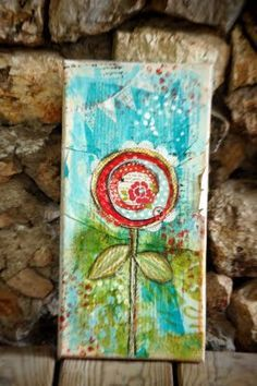 Mixed Media Flower Canvas- a mini tutorial! This would be a fun ADULTS class
