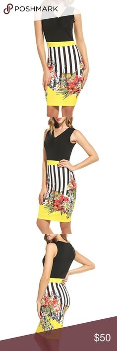 NWOT Black and Yellow Floral Sleeveless Dress 95% polyester and 5% spandex. Brand new, never worn. Dresses