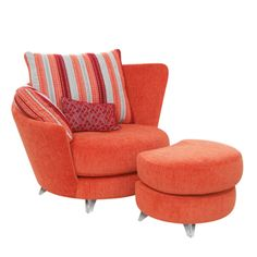 Fama Roxane Armchair and Footstool Comfy Armchair, Cozy Chair, Funky Chairs, Armchairs For Sale, Bedroom Chair, Chair Fabric, Home Decor Furniture, Unique Home Decor, Living Room Chairs