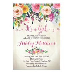 Floral watercolor baby shower script on blue card filmwisefo